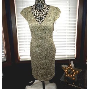 Sue Wong Beige/Gold Beaded Gown size 8